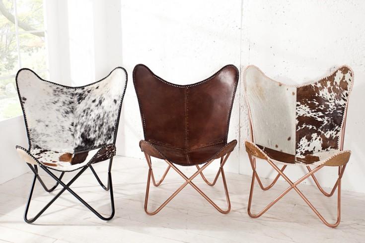 designklassiker lounge sessel butterfly echtfell schwarz