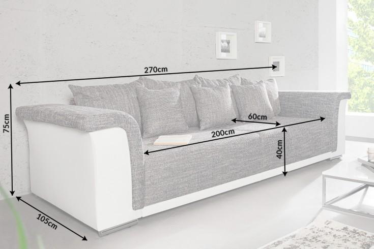 Design big xl sofa bellina hellgrau strukturstoff wei schlaffunktion federkern riess Riess ambiente sofa