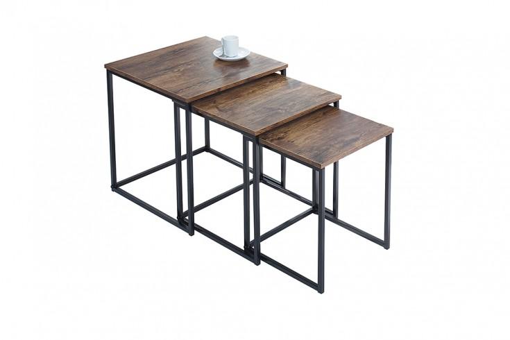 Design beistelltisch 3er set fusion vintage look schwarz for 3er beistelltisch