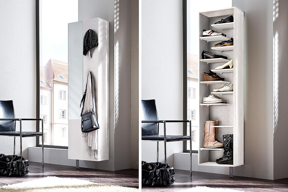 design dreh schuhschrank cleary 190cm edelmatt wei mit. Black Bedroom Furniture Sets. Home Design Ideas