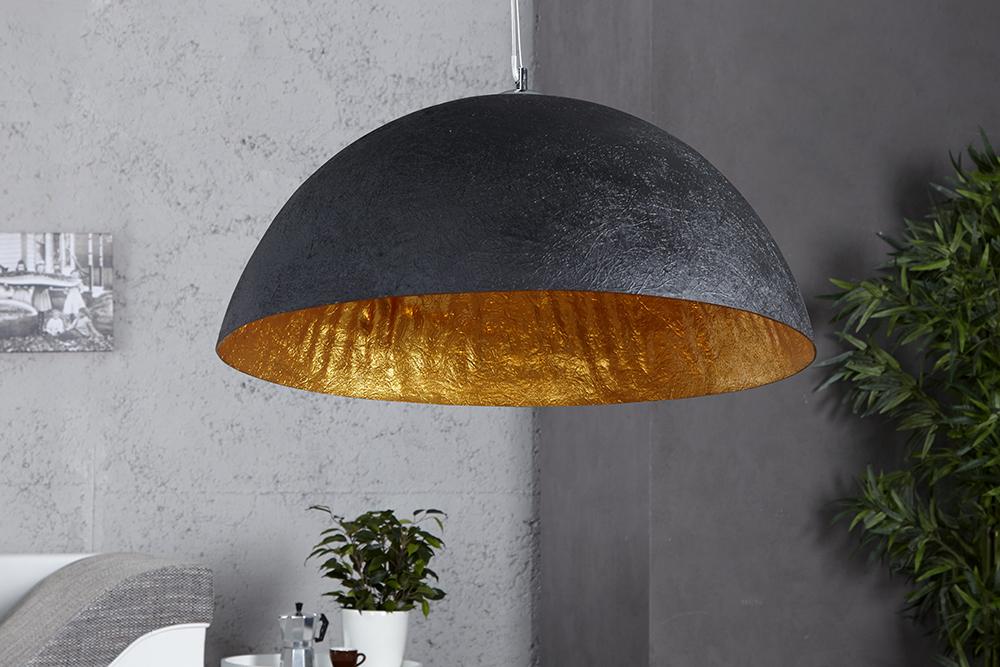 stylische h ngeleuchte glow schwarz gold 50cm riess. Black Bedroom Furniture Sets. Home Design Ideas