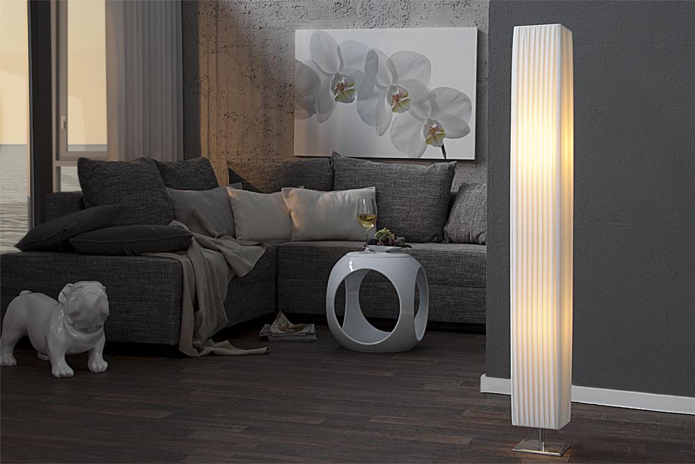 Edle design stehlampe paris weiß 120cm plissee schirm riess