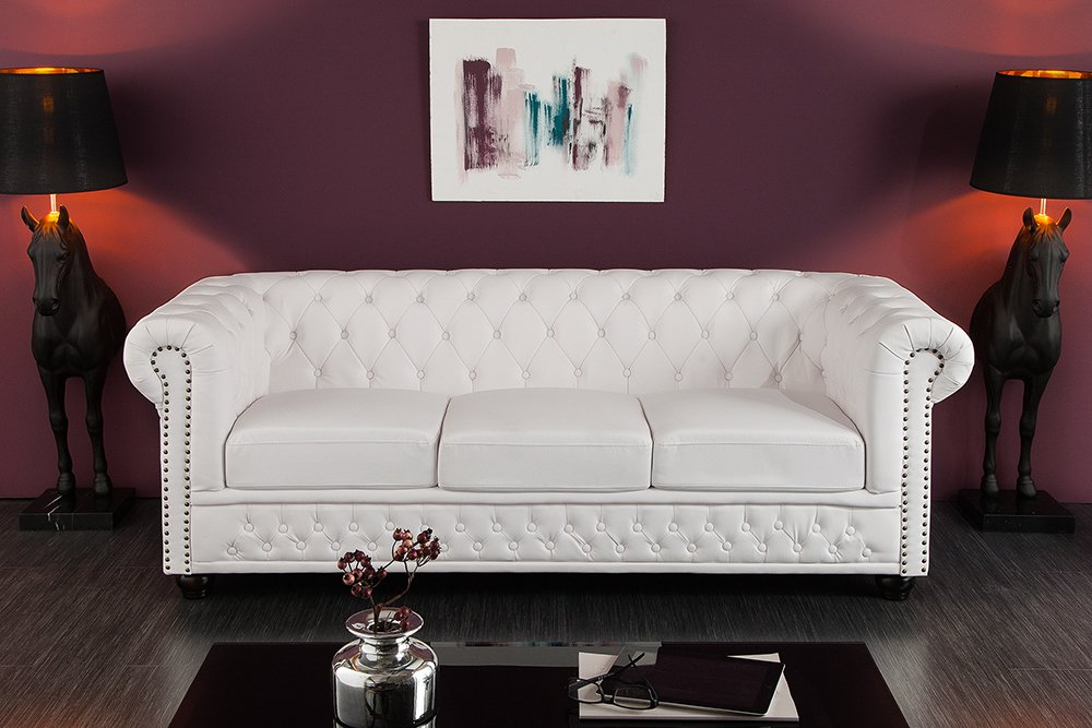 edles chesterfield 205cm 3er sofa matt wei knopfheftung riess. Black Bedroom Furniture Sets. Home Design Ideas