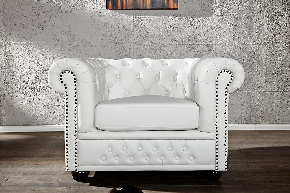 edler chesterfield sessel matt wei mit knopfheftung riess. Black Bedroom Furniture Sets. Home Design Ideas