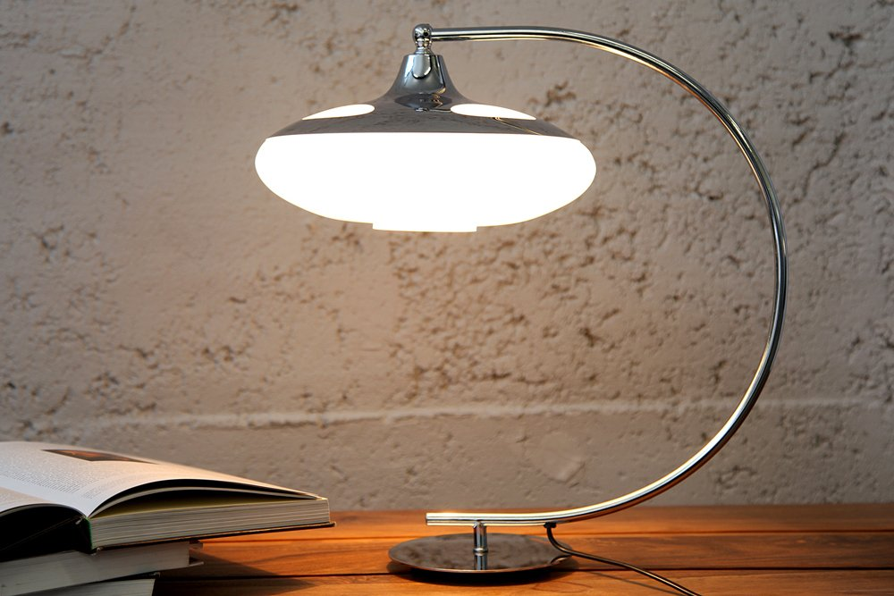 Moderne Tischlampe Luna Logo 45cm Silber Verchromt Tischleuchte Riess Ambiente De