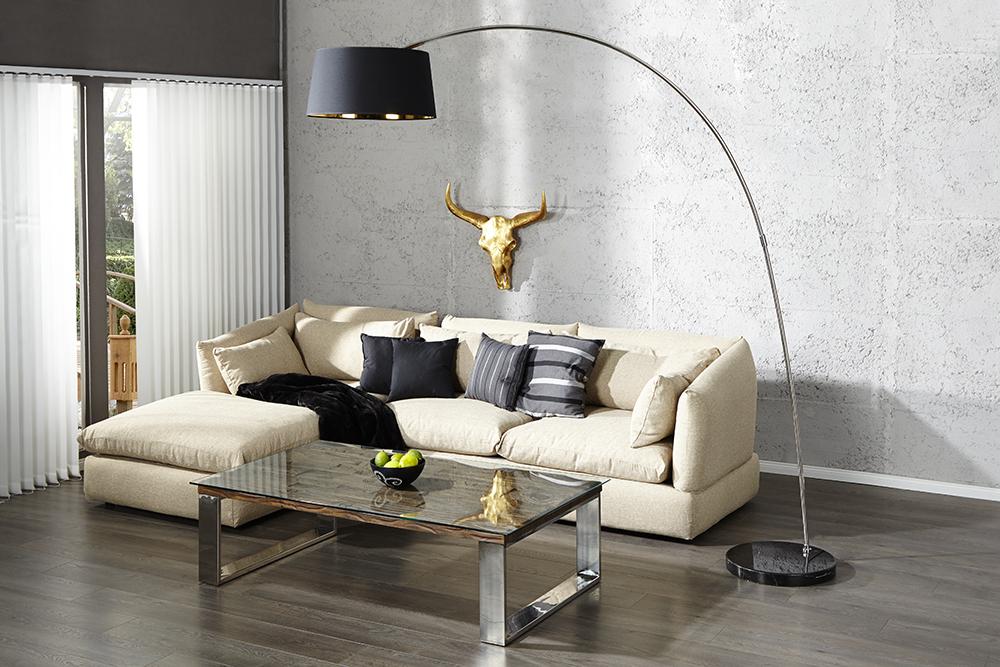 design stehleuchte forma schwarz gold bogenlampe. Black Bedroom Furniture Sets. Home Design Ideas