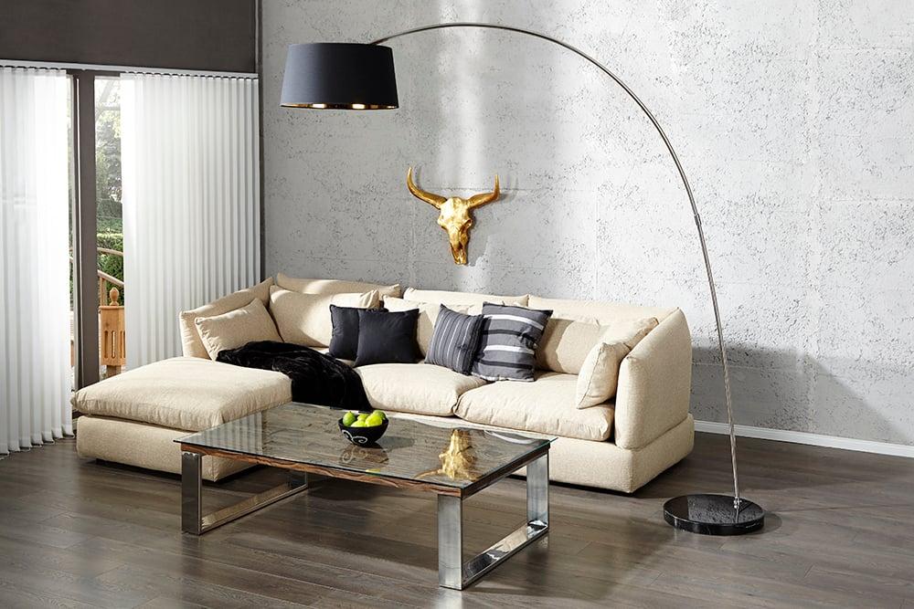 design stehleuchte forma schwarz gold bogenlampe bogenleuchte riess. Black Bedroom Furniture Sets. Home Design Ideas