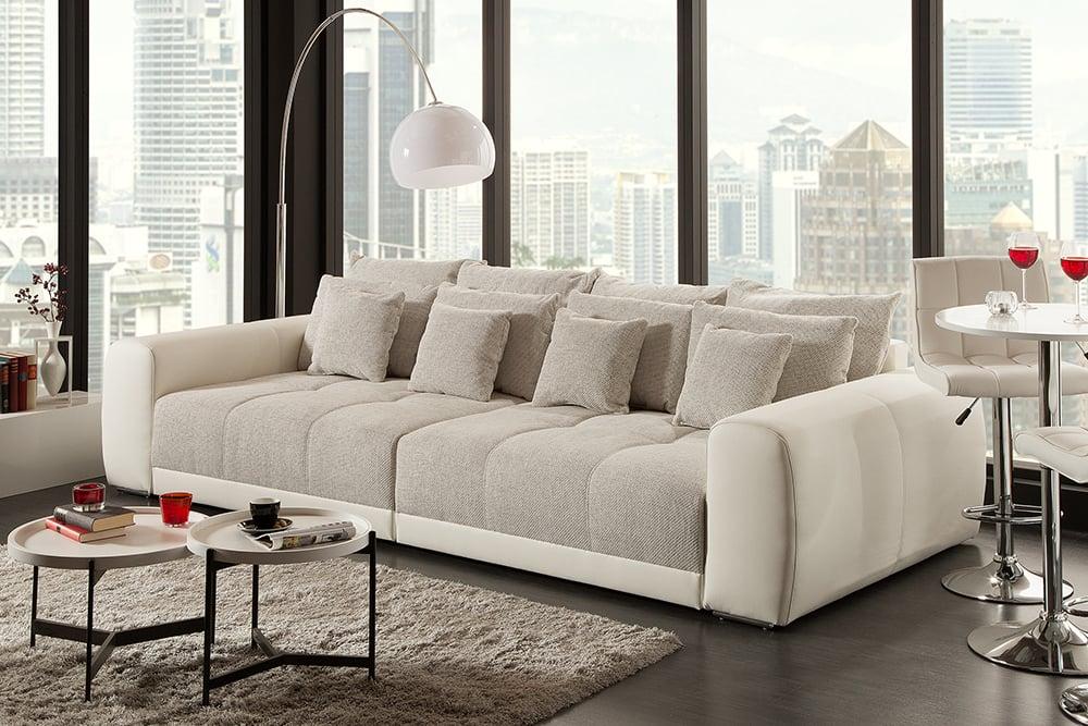 Modernes XXL Sofa GIANT LOUNGE 300cm greige inkl. Kissen ...