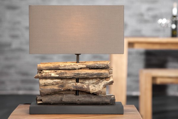 handgefertigte design tischlampe perifere schirm braun