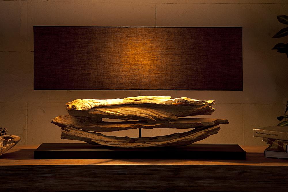 gro e design lampe riverine schwarz treibholz leuchte handarbeit mit echten leinenschirm riess. Black Bedroom Furniture Sets. Home Design Ideas