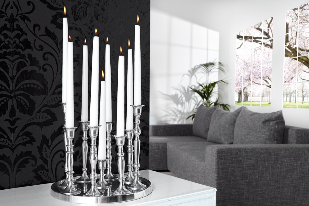 design deko platte 9 flammig kerzenst nder l ster metall aluminium legierung poliert. Black Bedroom Furniture Sets. Home Design Ideas
