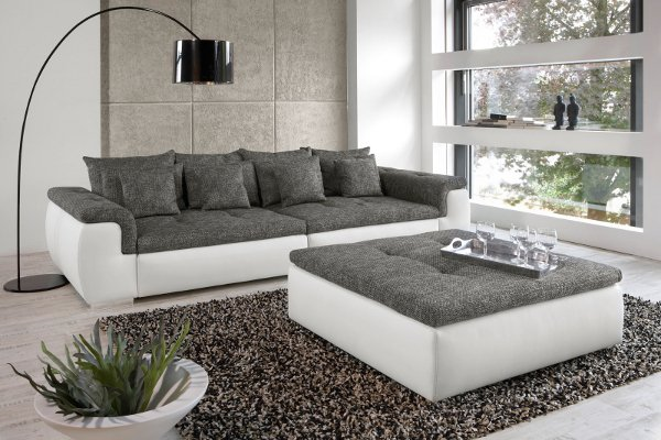 design xxl sofa big point weiss strukturstoff anthrazit riess ambiente onlineshop. Black Bedroom Furniture Sets. Home Design Ideas