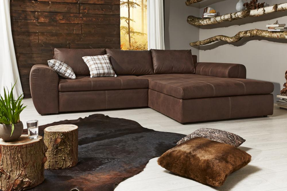 wohnlandschaft smooth braun antik look inkl schlaffunktion riess. Black Bedroom Furniture Sets. Home Design Ideas