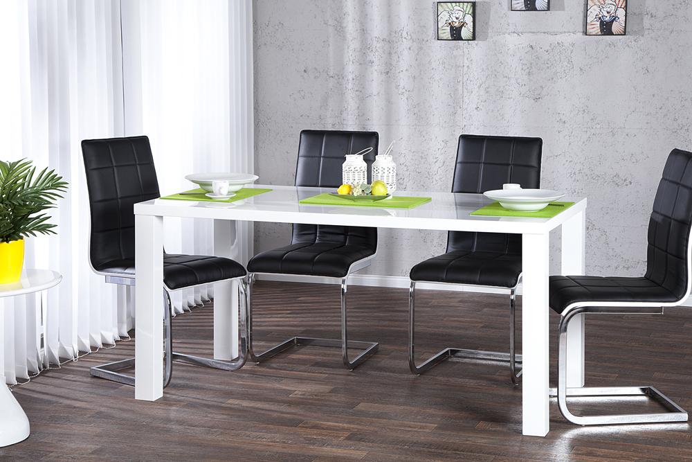 Design Esstisch LUCENTE 140cm Weiß Hochglanz Tisch