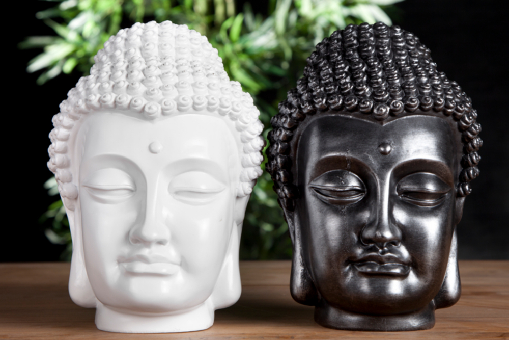 design buddha kopf hochglanz wei skulptur deko accessoire riess. Black Bedroom Furniture Sets. Home Design Ideas