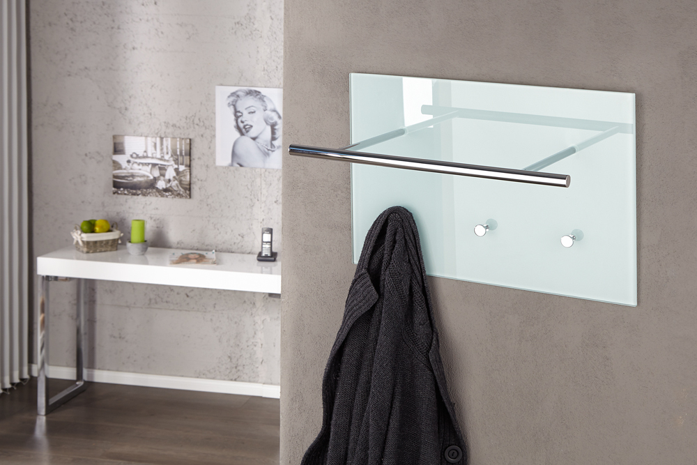 Moderne Wandgarderobe Weiß.Moderne Design Wandgarderobe Azzaretti 50cm Weiß Glas Riess Ambiente De