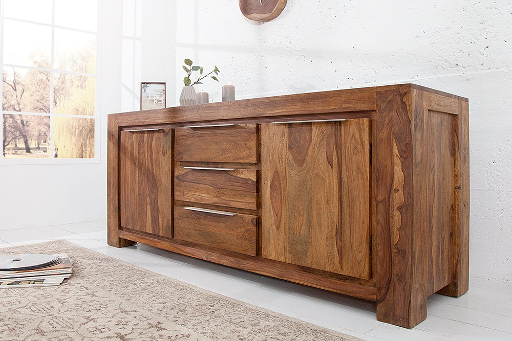 sideboard makassar aus sheesham 175cm kommode massiv holz einzigartige maserung riess. Black Bedroom Furniture Sets. Home Design Ideas