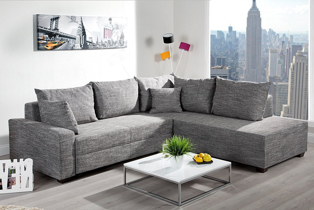 Design Ecksofa Apartment Strukturstoff Graphit Federkern Sofa Schlaffunktion Riess