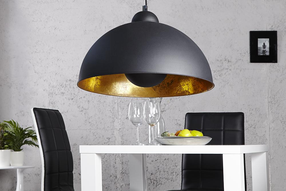 Moderne hängelampe studio schwarz blattgold optik riess ambiente