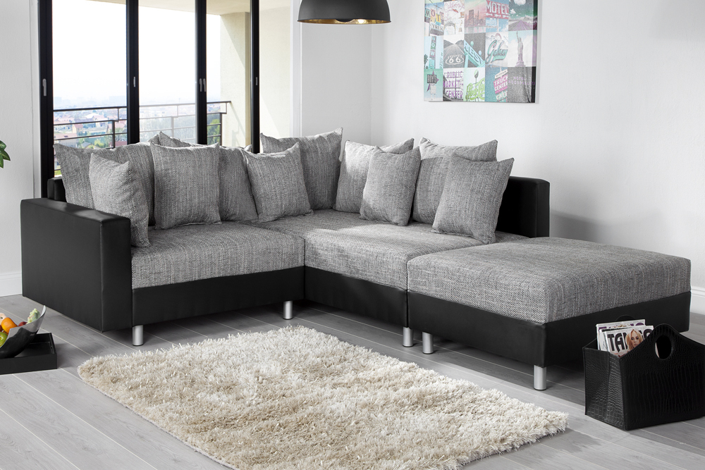 design ecksofa mit hocker loft schwarz strukturstoff grau federkern ot beidseitig aufbaubar. Black Bedroom Furniture Sets. Home Design Ideas
