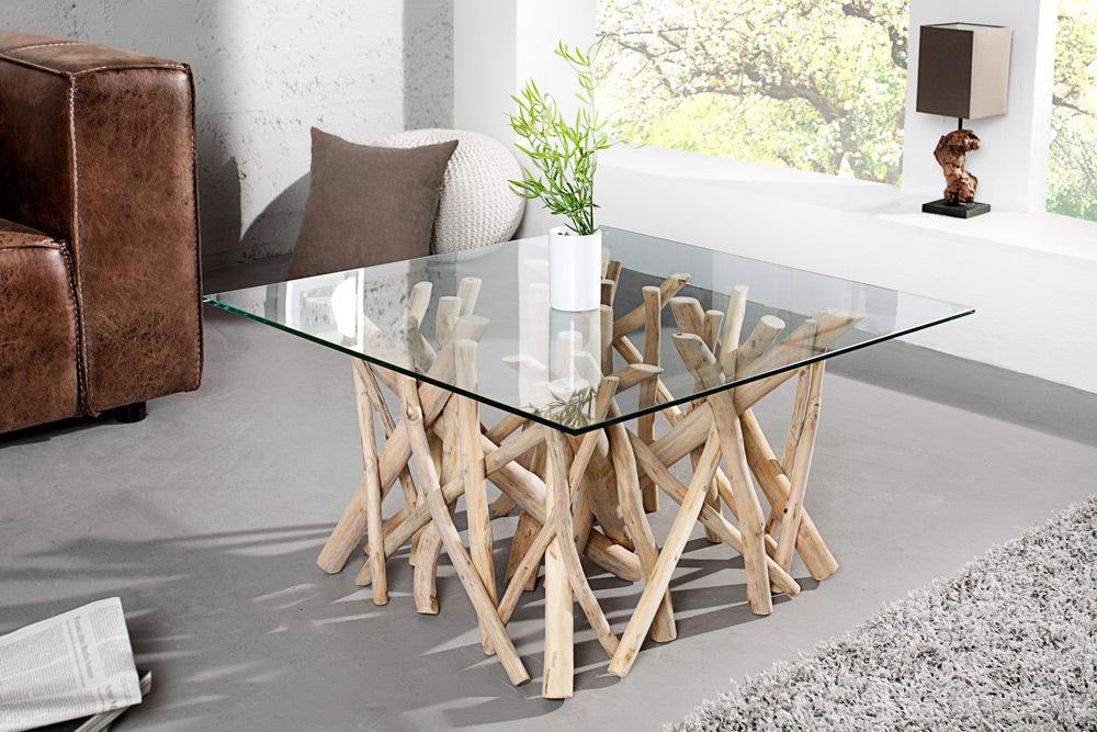 Design Teakholz Couchtisch Driftwood 80cm Mit Glasplatte Eckig