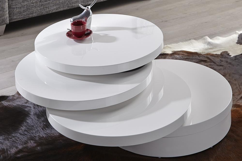Moderner Couchtisch Multi Puk Xl 70cm Weiss 3 Drehplatten Rund Hochglanz Riess Ambiente De
