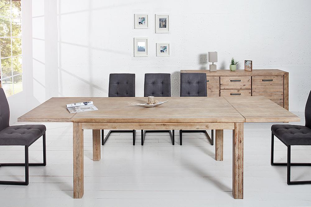 massiver esstisch montreal akazie teakgrau wei gekalkt 160 260 verl ngerbar massivholz. Black Bedroom Furniture Sets. Home Design Ideas