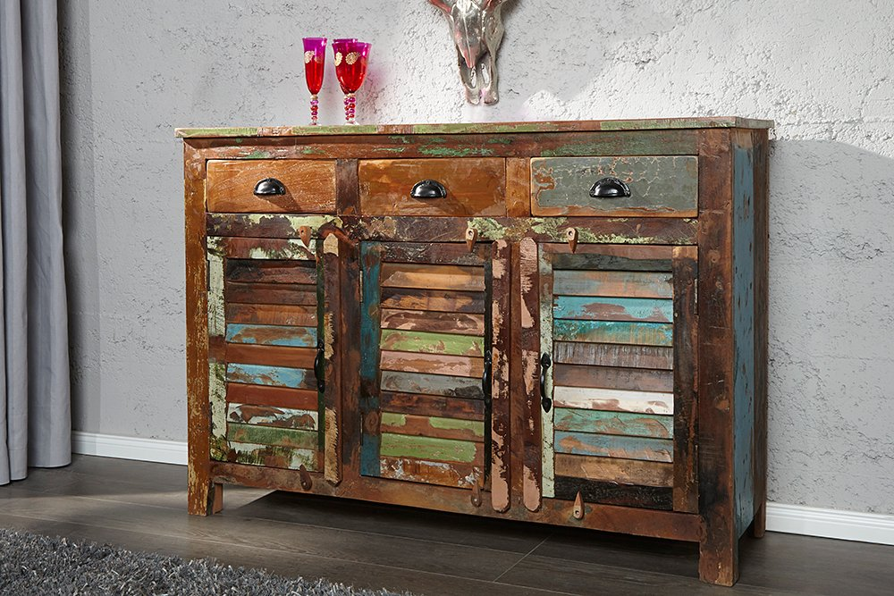 sideboard jakarta recycling holz bunt 125cm fischerbooten. Black Bedroom Furniture Sets. Home Design Ideas