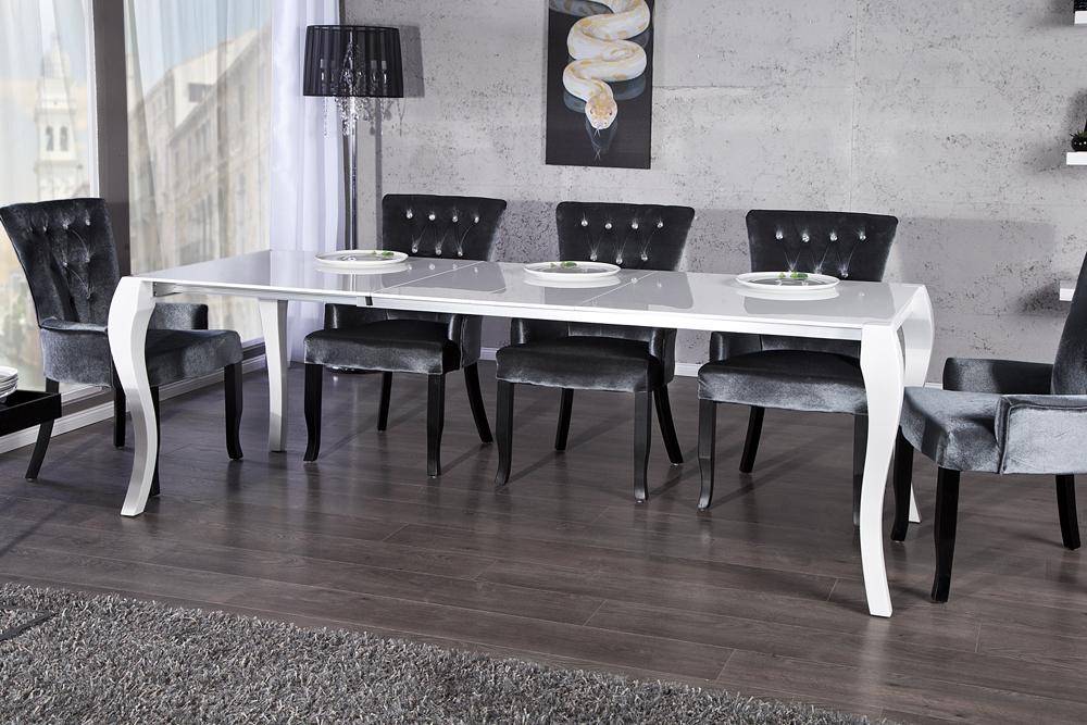 Design holztisch ausziehbar  Stylischer Design Esstisch BAROCCO weiß Hochglanz 170 - 230cm ...