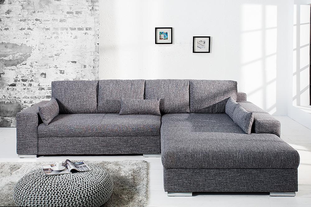 Design Wohnlandschaft Vincenza Grau Strukturstoff Mit Bettfunktion Federkern Riess