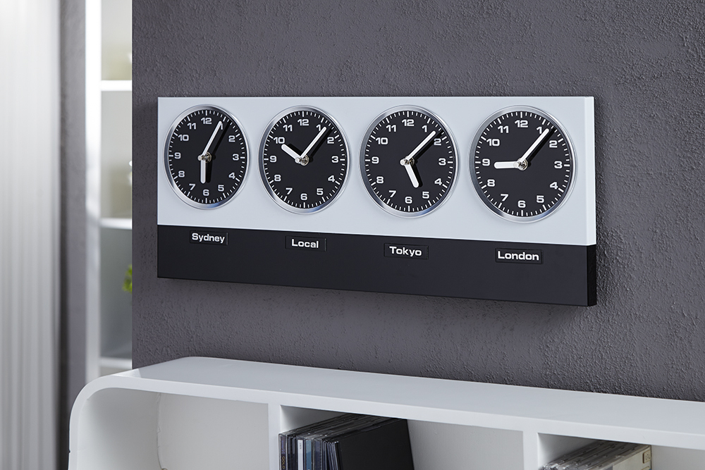 Design wanduhr world time incl 8 magnete 4 zeitzonen - Wanduhr zeitzonen ...