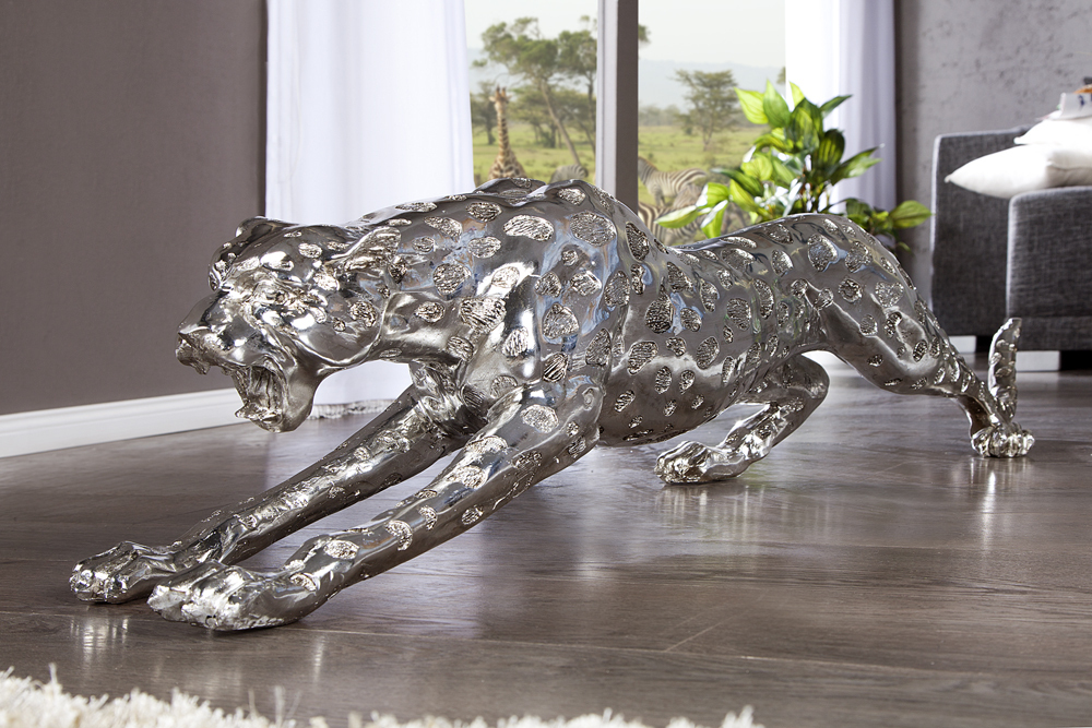 Riesige design skulptur leopard 145cm silber figur deko for Deko accessoires