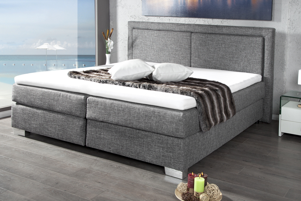 modernes boxspringbett queens 180x200 cm grau mit. Black Bedroom Furniture Sets. Home Design Ideas