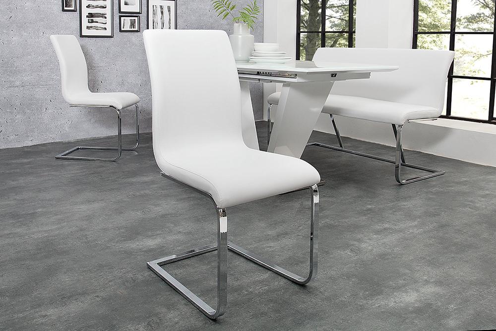 eleganter design freischwinger hampton stuhl im edlem wei riess. Black Bedroom Furniture Sets. Home Design Ideas