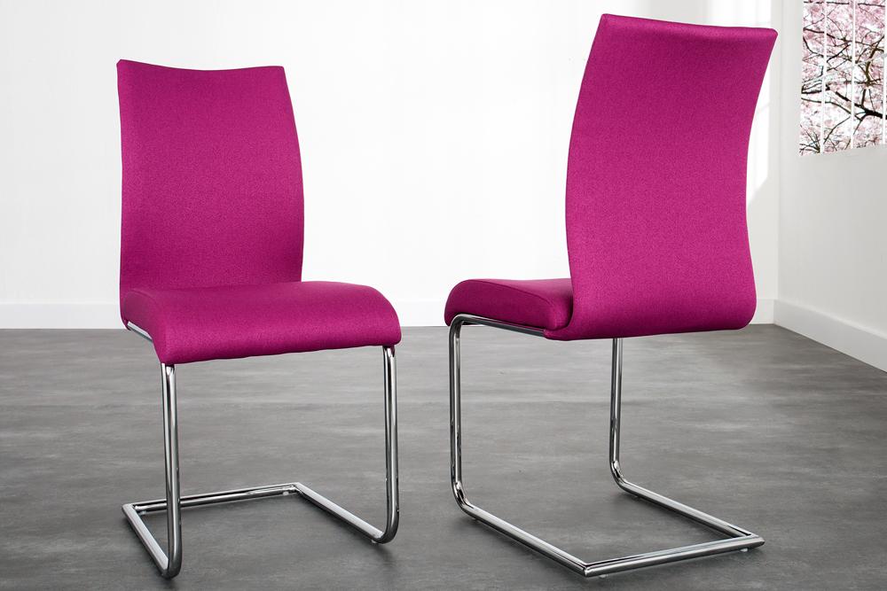 Design freischwinger stuhl suave strukturstoff magenta for Design stuhl freischwinger
