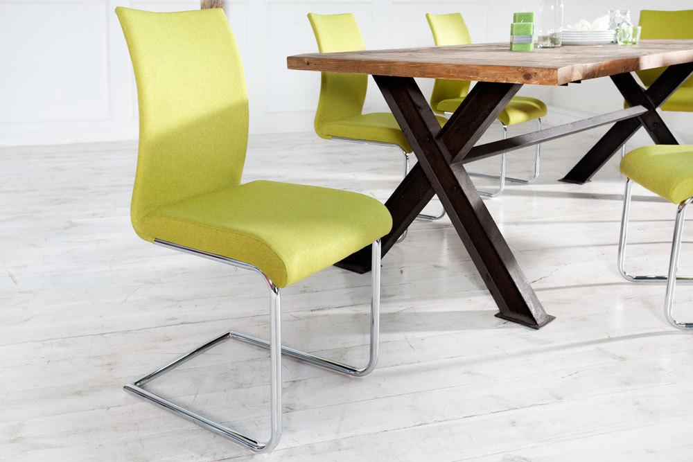 Moderner Design Freischwinger Stuhl SUAVE lemon mit Chromgestell | Riess