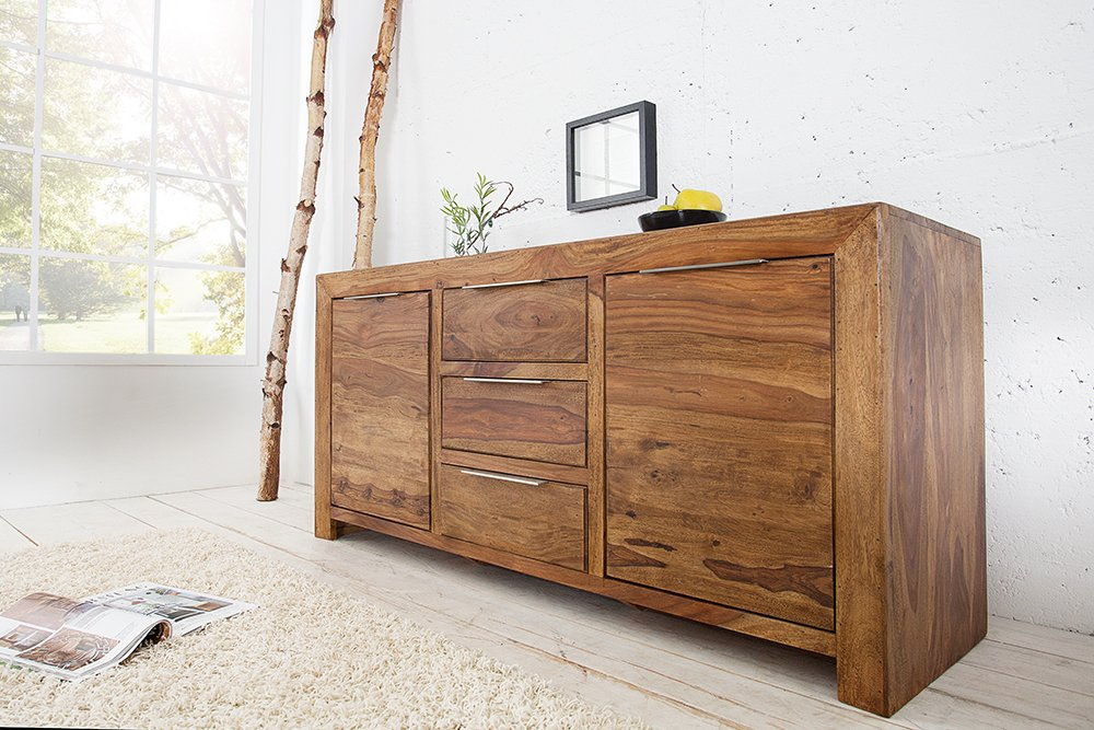 Massives Design Sideboard Pure 135cm Sheesham Holz Stone Finish