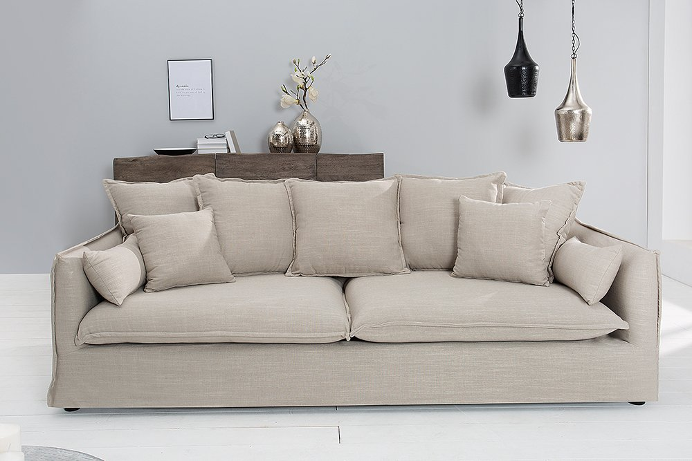 gro es hussensofa heaven leinenstoff in beige 3er sofa 215cm riess. Black Bedroom Furniture Sets. Home Design Ideas