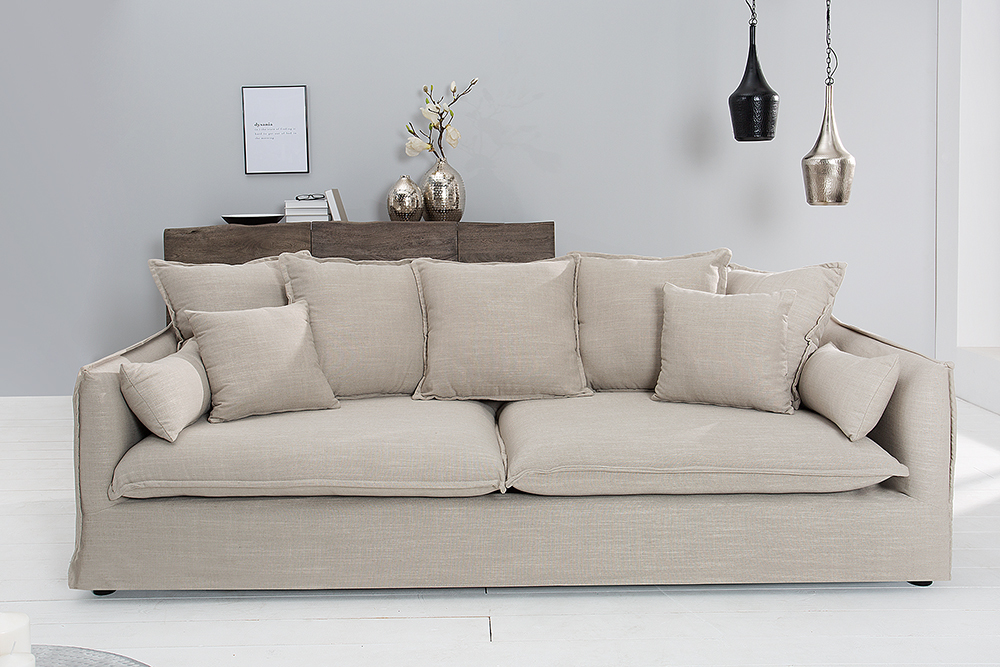 Cheap Groes Hussensofa Heaven Leinenstoff In Beige Er Sofa Cm With Couch  Beige