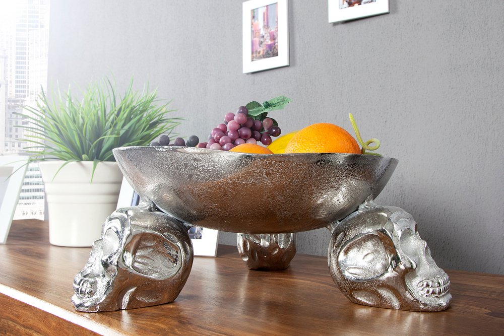 design obstschale skull 35cm silber metall aluminium legierung riess. Black Bedroom Furniture Sets. Home Design Ideas