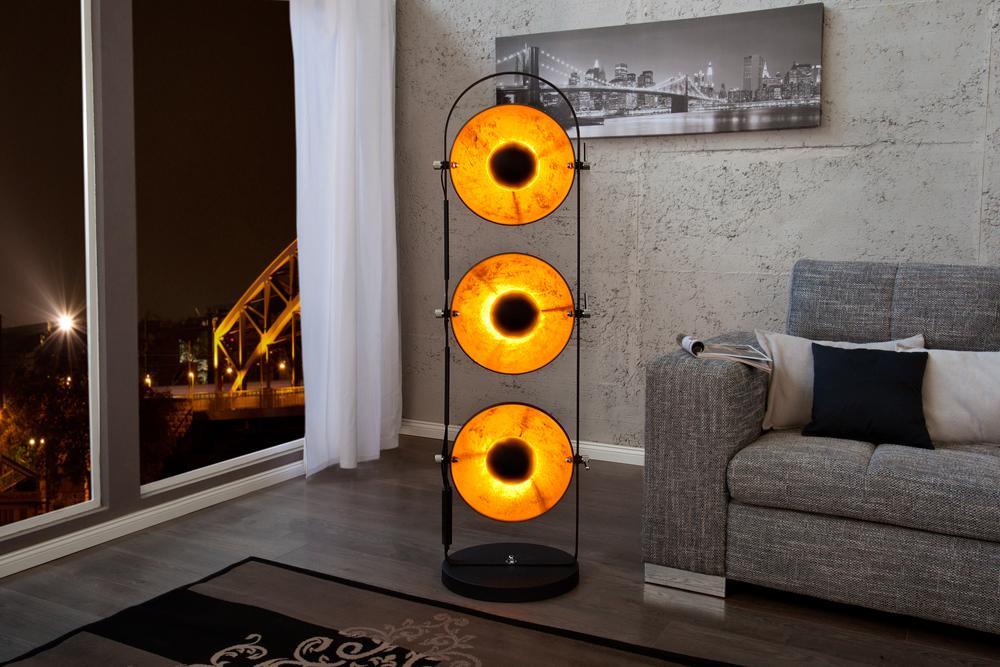 design stehlampe studio 3 lampenschirme schwarz blattgold optik riess. Black Bedroom Furniture Sets. Home Design Ideas