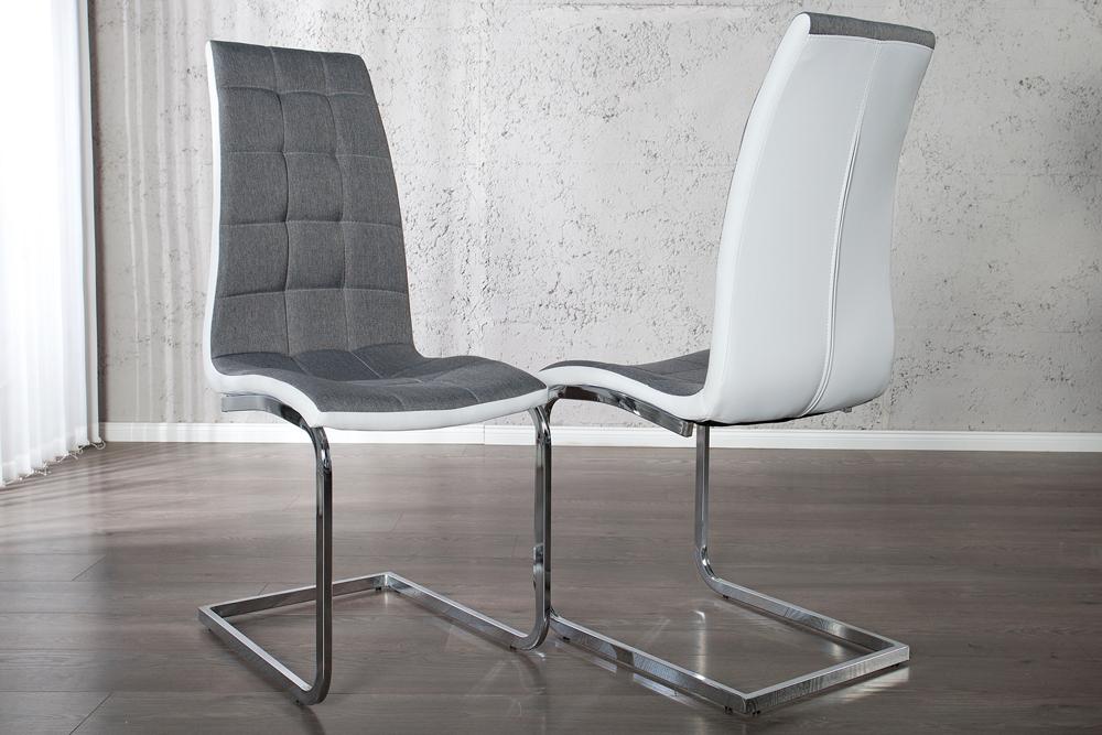 edler freischwinger stuhl london grau und wei mit. Black Bedroom Furniture Sets. Home Design Ideas