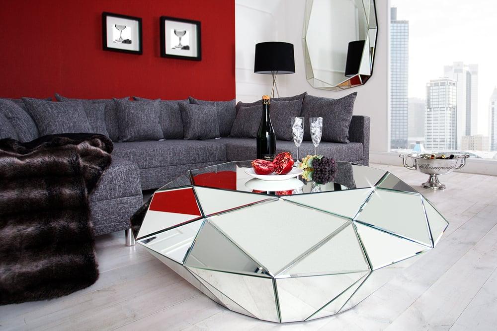 Design Couchtisch Diamond 115cm Spiegelglas Facetten Design Diamant