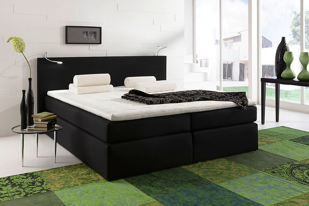 boxspringbett rochelle 180x200 cm anthrazit mit matratze hotelbett federkern riess ambiente. Black Bedroom Furniture Sets. Home Design Ideas