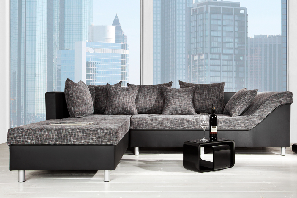 gro es ecksofa sultan schwarz strukturstoff schwarz ot links riess. Black Bedroom Furniture Sets. Home Design Ideas