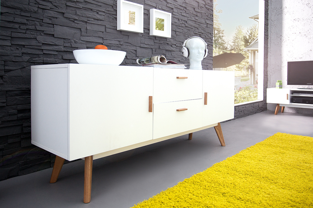 Design Sideboard SCANDINAVIA MEISTERSTÜCK 160cm weiß Echt Eiche ...