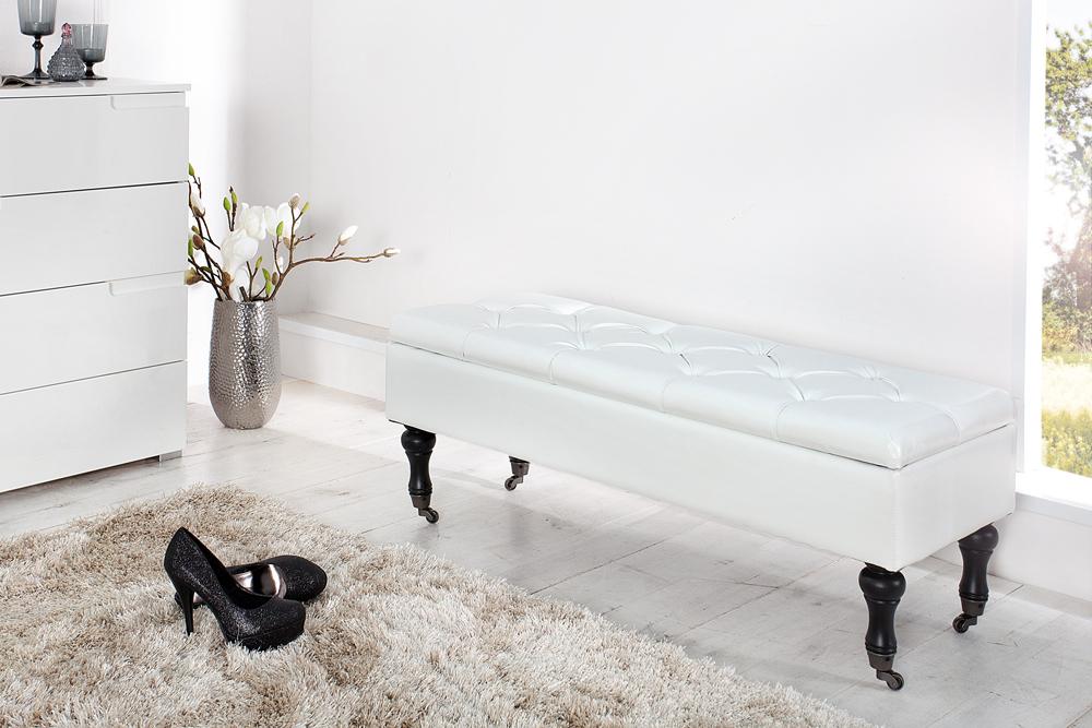 Edle Design Truhenbank BOUTIQUE weiß Sitzbank mit Stauraum 110 cm ...