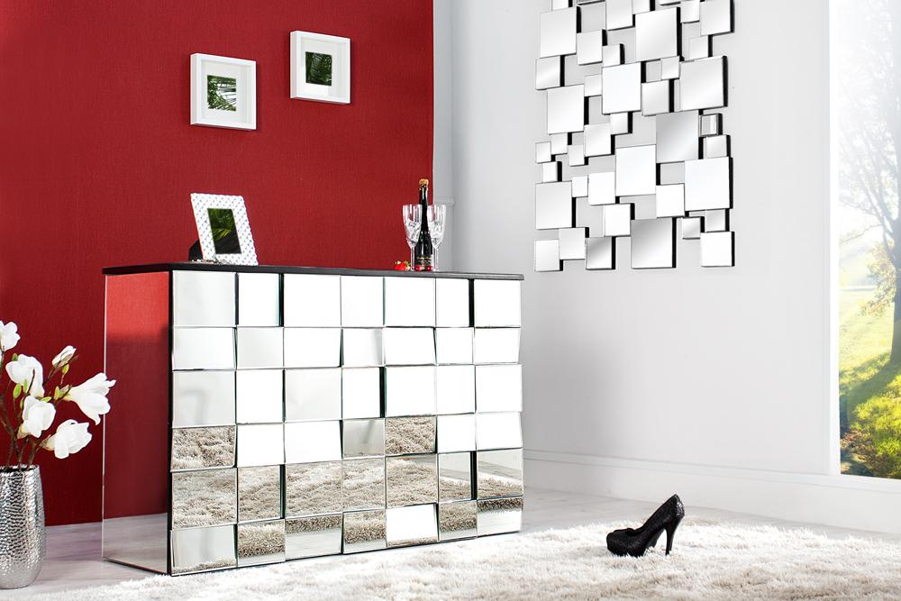 design bartresen multiplo 130cm glas konsole 42 facetten spiegel 3d optik riess. Black Bedroom Furniture Sets. Home Design Ideas