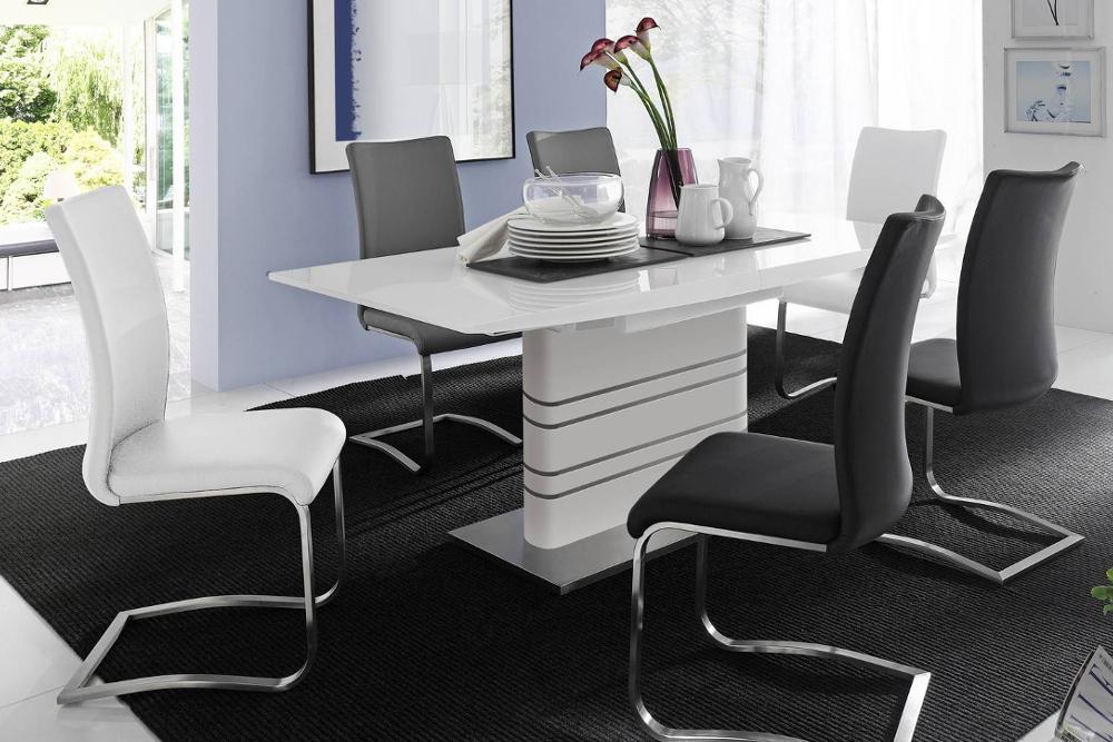 premium freischwinger stuhl arco wei mit geb rstetem edelstahlrahmen und bestem sitzkomfort. Black Bedroom Furniture Sets. Home Design Ideas