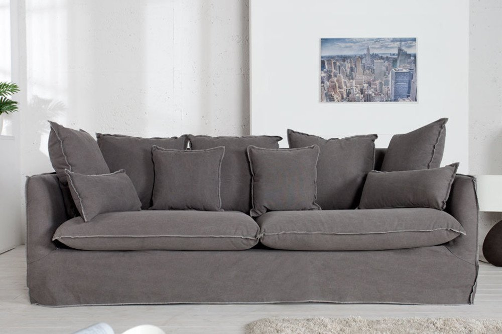 gro es hussensofa heaven 215cm stone washed grau baumwollstoff 3er sofa riess. Black Bedroom Furniture Sets. Home Design Ideas